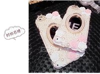 Wholesale Pearl Iphone 4s Case - 30PCS For iphone 7 7plus 6s 6 6splus 6plus 5s 4s Pearl mirror Rhinestone phone case battery cover