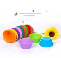 Wholesale Silicon Bake Cake Cup - Wholesales Round Shaped Silicon Cake Baking Molds Jelly Mold Silicon Cupcake Pan Muffin Cup c252