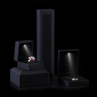 Wholesale High End Ring Boxes - High End Black Rubber Led Pendant Box Gift Spotlight Jewelry Packaging Boxes Earring Boxes Necklace Storage Case