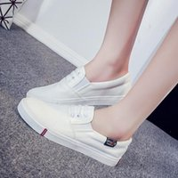 Wholesale Korean Sneakers For Girls - Fashion white sneakers Spring and summer canvas shoes Korean style flat white shoes for women girls