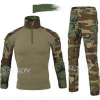 ordu kamuflaj gömlekleri toptan satış-Kamuflaj Taktik Setleri Üniforma Gömlek Set Erkekler Multicam açık Avcılık Giyim Ordu Savaş Gömlek + Kargo Pantolon ABD Taktik Dişli