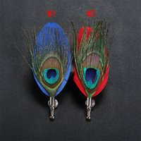 Wholesale Feather Lapel Pins - New fashion Men Animal peacock Feathers Brooch Lapel pin Preside suit Boutonniere button Brooches pins for Wedding party Broches gift