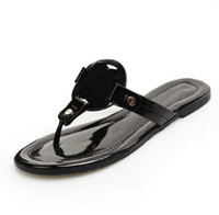 Wholesale Designer Lady Heels - Fashion Brand Logo Designer Genuine Leather Sandals Outdoor Beach Flip Flop Flat Heel Slippers Casual Loafers Lady Women Shoes Sz 35-41