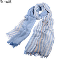 Wholesale Wholesale Silk Linens - Wholesale- 2016 Popular New Cotton And linen Scarf Thin Silk Scarves In The Spring And Autumn Pure Color Stripe Burrs Linen Shawl SC1083