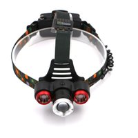 Wholesale Reading Low Light - High Quality 1*T6+2*R2 LED Headlamp 4 Modes Headlight Powered By 18650 Battery Helmet Light for Camping, Running, Hiking,Reading