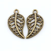 Wholesale Antique Leaf Pendant - Hot ! 300pcs Antique Bronze Lovely Hollow Mini Leaf Charm Pendant 9X17mm(b176)