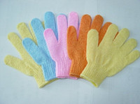 Wholesale wholesale nylon body scrubs - Exfoliating Gloves Skin Body Bath Shower Loofah Nylon Mittens Scrub Massage Spa Bath Finger Gloves free shipping