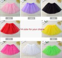 Wholesale Soft Nylon Chiffon - LG4 Euro Fashion 14 colors Top Quality candy color kids tutus skirt dance dresses soft tutu dress ballet skirt 3layers children pettiskirt c