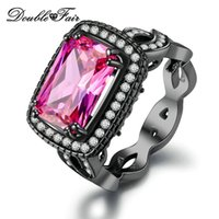 Wholesale Black Diamond Set Jewelry Ring - Free Shipping Black Gold Plated Pink Imitation Gemstone Rings CZ Diamond Fashion Jewelry For Women Gift & Party Wholesale DFDD041