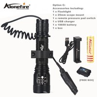 Wholesale Pressure Switch Control - AloneFire TK400 Tactical Flashlight L2 LED Torch Lamp Flash Light Lantern with Mount Remote Control Pressure Switch by 18650