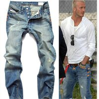 Wholesale Hot Low Rise Jeans - robin jeans for men David Beckham same style hot sale men's Ripped straight jeans low-rise denim pants male fashion jeans men