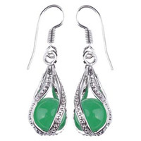 Wholesale Twister Plates - 5 pairs Wholesale Smooth Round 8mm Green Malaysia Jade Beads Green Jade Dangle Earrings Twister Cages