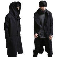 Wholesale Manteau Hoodies - Wholesale- New fashion long trench coat men hip hop black long coat hoodie jacket mens casual wool overcoat hooded manteau homme cappotto