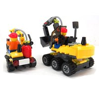 Wholesale Toys Building Excavator - diy 196pcs Building Blocks City Engineering Team Assemble DIY Excavator Small Particles Early Educational Toy for Kids Children