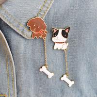 Wholesale Poodle Jewelry - Wholesale- 2 pcs set Poodle French Bulldog Brooch For Women Men Cartoon Puppy Dog Bone Denim Jacket Collar Badge Pins Chain Animal Jewelry