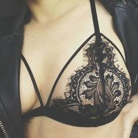 Wholesale Transparent Strapped Bikini - NEW Sexy Womens Floral Lace Bralette Bra Top brasier mujer Transparent Underwear Seamless Brassiere Strappy Bikini Bra Tops Z2