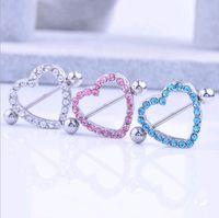 Wholesale rhinestone nipples - Nipple Shield Rings Barbells Love Heart Medical Stainless Steel CZ Diamond Rhinestone Nipple Body Piercing Jewelry Pink Blue White