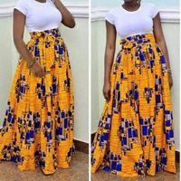 Wholesale Flared Skirt High Waist - Bohemian Beach High Waist Brazil Casual A Line Ball Gown Floral African Print Maxi Flared Skirt
