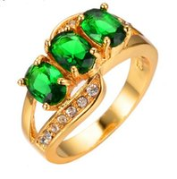 Oval Fashion Crystal White Zircon Green Green Ring Amarelo Ouro cheio CZ Diamond Jewelry Vintage Wedding Rings Gifts