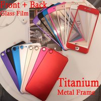 Wholesale Titanium Iphone Back - colorful metal frame Titanium alloy front and back tempered glass screen protector for iphone 6 6s 6s plus and iphone 7 7plus