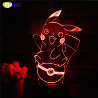 Carton 3D Lamp Cute Pikachu Night Lights LED Night Lamp com 7 cores Desk Lamp como crianças Aniversário Holiday Xmas Gifts