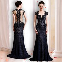 Wholesale Orange Feather Brooches - black sequin lace mermaid evening dresses 2018 illusion bodice embroidery crystals beaded cape sleeves sweetheart neckline sweep train