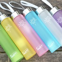 Wholesale Sport Bottles Cartoon - Translucent Water Bottles With Rope Single Layer Plastic Cups For Student Sport Tumbler Portable Hot Sale 15 5sp E R