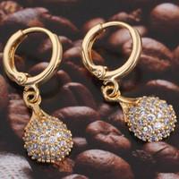 altın kaplama bilyalı damla küpeler toptan satış-18 K Altın Kaplama Boncuk Topu Yuvarlak Damla Kolye Kulak Hoop Küpe Moda Takı 1 Çift Temizle Kristal Zirkon Küpe