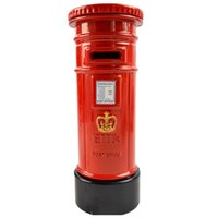 Wholesale British Money - Wholesale- BOHS Alloy Metal British Style London Mail Box Post Office Coin Money Bank Model Birthday Gift 15*5.5cm