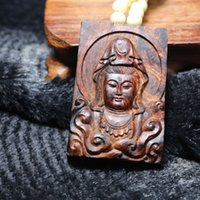 Wholesale Purple Amulet - Wooden lucky Amulet Talisman Buddha GuanYin Bodhisattva Genuine natural old purple oily pear Chinese HaiNan huanghuali necklace pendant
