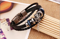 Wholesale Small Braided Leather Bracelets - 2017 Europe and the United States new popular beaded leather bracelet small handmade braided leather bracelet