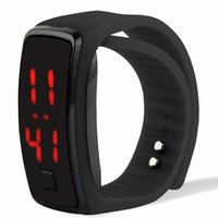 Wholesale Various Watches - Sports rectangle led Digital Display touch screen watches Rubber belt silicone bracelets Wrist watches Various Colors By DHL Free