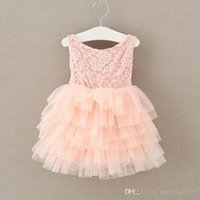 Kids Girls Rose Lace Dresses 2017 Summer Baby Girl Vestido rosa Ruffle Princesa infantil Bow Flower Party Dress Babies Wholesale Clothing S518