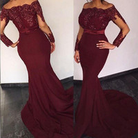 Wholesale cheap silver wedding dresses online - 2019 Hot Burgundy Cheap Bridesmaid Dresses Long Sleeves Illusion Off the Shoulder Appliques Formal Wedding Party Dresses Maid of Honor Dress
