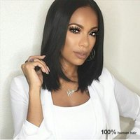 Wholesale Glueless Virgin Peruvian Lace Hair - Yaki Straight Bob Wigs With Baby Hair Peruvian Virgin Hair Glueless Full Lace Human Hair Wigs For Black Women G-EASY