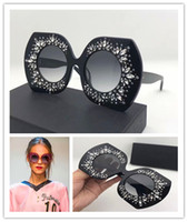 Wholesale Design Sun Glasses - Luxury brand sun 4315 large frame elegant special design inlaid colorful diamond frame built-in circular lens top quality fashion glasses