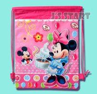 Wholesale Shopping Bags For Kids - Mickey Mouse Red Drawstring Bags Cartoon Backpack Shopping bag Boy Birthday Decoration Party Supplies for Kid Favors 35*27cm