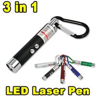 Wholesale Pet Laser Light - 3 in 1 Funny Pet stick Cat Toys Red Laser Pointer Pen With White Purple LED Light Show Key Chain Money Detector Pen