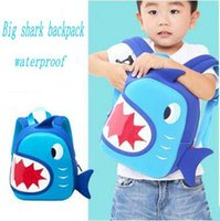 Kids Sharks Modelagem Mochila Boy's Cartoon School Bag Kid's Blue Shark School Bag Kid's Brithday Gift Material de Mergulho Mochila