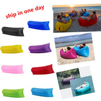 Wholesale outdoor Fast Inflatable Air Sleeping Bag Hangout Lounger Air Camping Sofa Portable Beach Nylon Fabric Sleep Bed with Pocket and Anchor