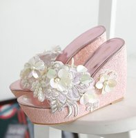 Wholesale Sexy Cloth Sales - Wholesale New Arrival Hot Sale Specials Super Influx Golden Leather Stars Knight Noble Transparent Sexy Lace Sequins Wedges Slippers EU34-39