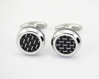 Wholesale High polish beveled edges and carbon fiber inlay stainless steel cufflinks custom cufflinks Men s Jewelry