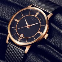 Wholesale Top Brand Luxury Quartz Women Lovers watch Casual men Black Japan quartz watch stainless steel Mesh strap ultra thin clock male New