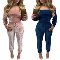 Wholesale Trendy Women Jumpsuits - New Trendy Women Casuak Jumpsuits and Rompers Sexy Long Sleeves Off Shoulder Long Pants Suits High Qualit Velvet Real Image