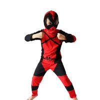 Wholesale Costumes For Kids Deadpool - Boy Deadpool Costume Halloween Costume For Kids Deadpool Party Costume Cosplay T-Shirt+Pants+Mask Clothing Set 3-7Years S-XXL
