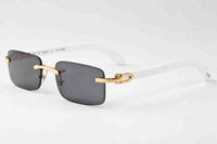 Wholesale Natural Yellow Amber - new fashion men women sunglasses metal frame rimless wood natural buffalo horn glasses brown gray lenses gold silver oculos