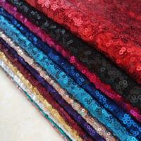 tecido de dança de lantejoulas venda por atacado-3 Mm Tecido de Lantejoulas Vestido de Tecido Festa de Casamento Desgaste do Palco Fundo de Casamento Malha Bordado Dança Decoração de Palco Paillette Fa
