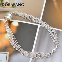 Wholesale Multiple Chain Bracelet - DORAPANG Newest style Fashion Jewelry 925 Sterling Silver Smooth snake chain Bracelet Multiple layer Chain style Hot sale free shipping 8015