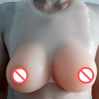 Wholesale Silicone Crossdresser Breast - Huge Size Chest cover Straps On Beige Color Red Nipple silicone breast fake chest Artificial boobs Soft Bust Enhancer Crossdresser User