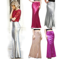 Frauen Sequins Rock Prinzessin Party Meerjungfrau Fischschwanz Formal Lange Röcke Prom Party Kleid Celebrity RöckeS-2XL 4Colors